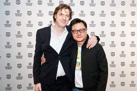 IFFR festival director Rutger Wolfson with Tatsumi director Eric Khoo